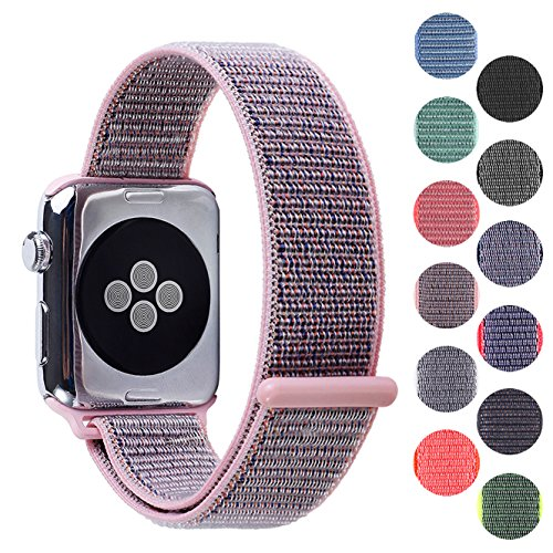 Pantheon Woven Nylon Replacement Apple Watch Band by, Sport Loop Edition, for Men or Women, Strap fits The 38mm or 42mm Apple iWatch, Compatible Series 1, 2, 3, Nike … (Light Pink, 42mm)