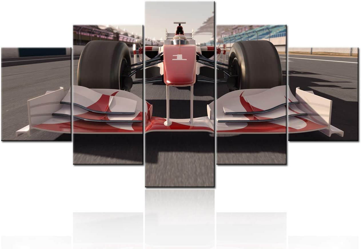 F1 Art Large Modern 5 Panels Gallery Wrapped Giclee Canvas Print A Formula One Race Car on Track Pictures Paintings on Canvas Wall Art Works for Living Room Home Office Decor Boy Gift - 60''Wx32''H