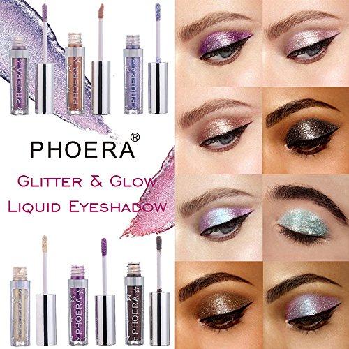 Elevin(TM) 12 Color PHOERA Magnificent Metals Glitter and Glow Liquid Eyeshadow (12 Colors/Set)