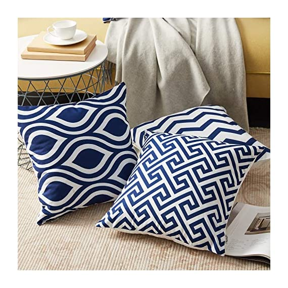 Top Finel Accent Decorative Throw Pillow Covers Durable Canvas Outdoor Throw Pillow Covers 20 X 20 for Couch Bedroom, Set of 6, Navy - SUPER PLUSH MATERIAL & SIZE: Made of durable canvas, comfortable to touch and lay on. 20 X 20 Inch per pack, included 6 packs per set, NO PILLOW INSERTS. WORKMANSHIP: Delicate hidden zipper closure was designed to meet an elegant look. Tight zigzag over-lock stitches to avoid fraying and ripping. NO PECULIAR SMELL: Because of using environmental and high quality canvas fabric,our throw pillow cases are the perfect choice for those suffering from asthma, allergen, and other respiratory issues. - patio, outdoor-throw-pillows, outdoor-decor - 61H6k629I%2BL. SS570  -