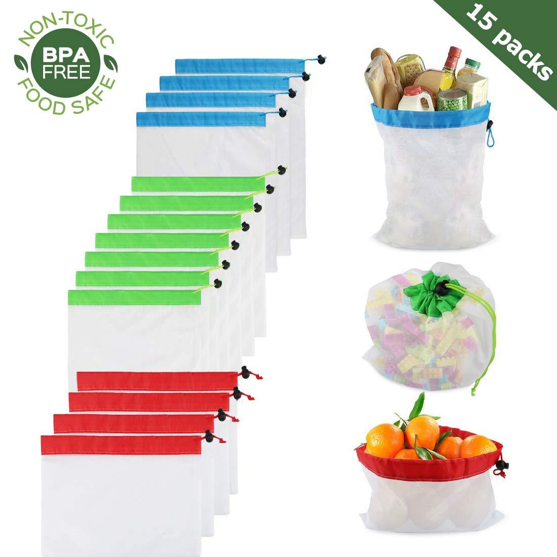 再利用可能な生鮮食品バッグ 15枚入り シースルー メッシュ 生鮮食品バッグ 引き紐付き 洗濯可能 ダブルステッチ 強度 食料品バッグ ショッピング フルーツ 野菜 おもちゃ 環境に優しい 3サイズ B07S74ZQHP