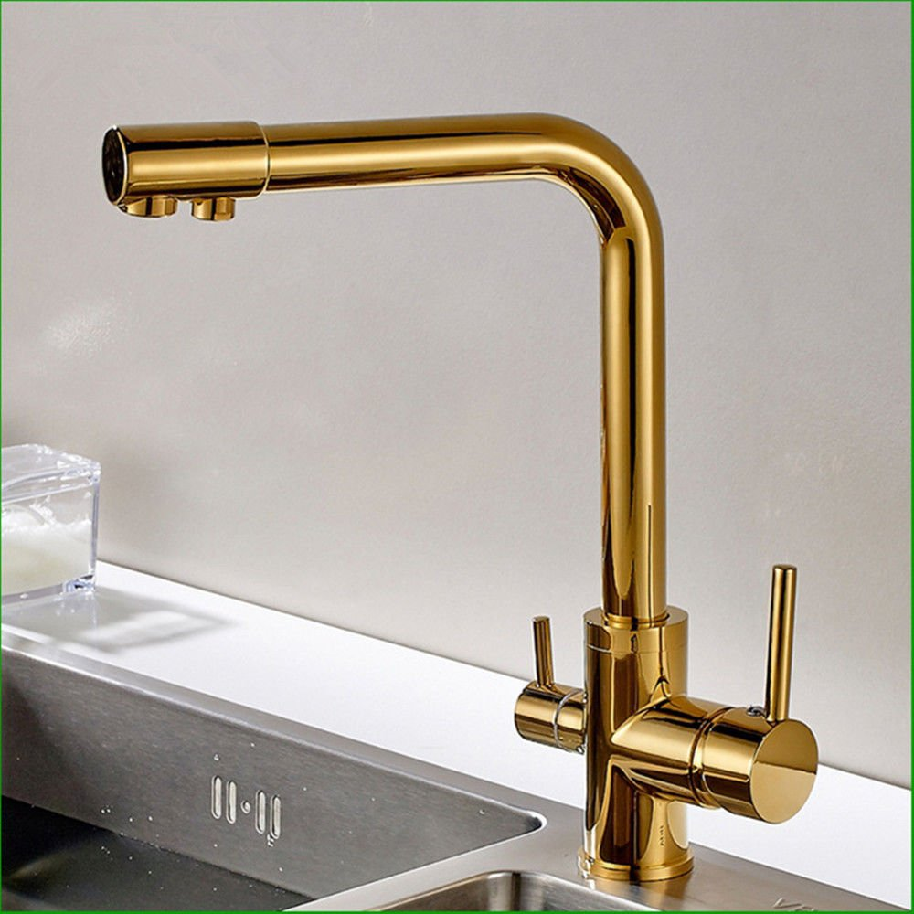 Modern simple copper hot and cold kitchen sink taps kitchen faucet Copper-plated double-head kitchen faucet sink faucet dish hot and cold faucet single handle faucet single hole faucet