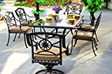 Darlee Ten Star Cast Aluminum 7 Piece Series 50 Glass Top Dining Set with Seat Cushions, 42″ by 72″, Antique Bronze Finish