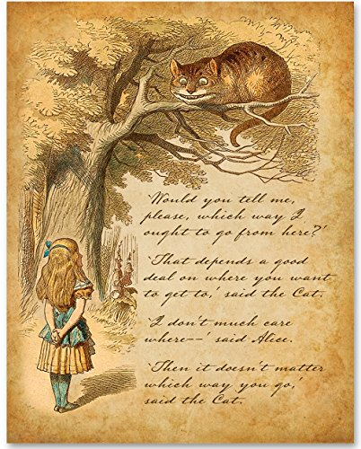 Alice Speaks to Cheshire Cat - 11x14 Unframed Alice in Wonderland Print