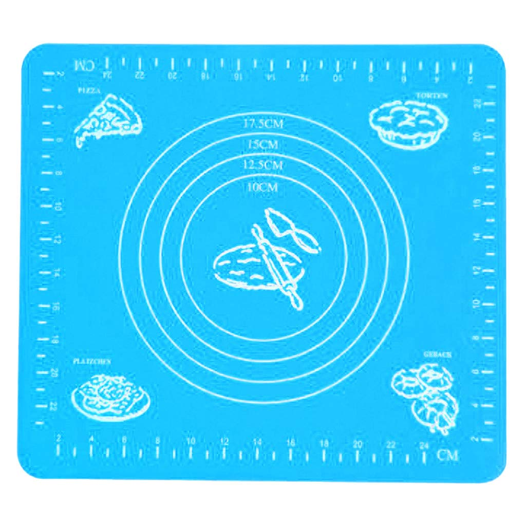 Non-Stick Silicone Baking Mat Professional Baking Tool Food Grade Silicone Pastry Mat Flour Pad for Kneading/Baking/Rolling Dough/Fondant (Blue)