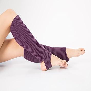Dolland Women Long Knitted Leg Warmers Boot Cuffs Socks Knee High Length Crochet for Dance Yoga,Deep purple