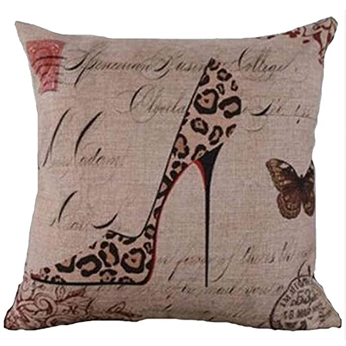 "Cotton Linen Square Decorative Throw Pillow Case Personalized Cushion Cover Leopard Pattern High Heel Shoe 18 ""X18 "" …"