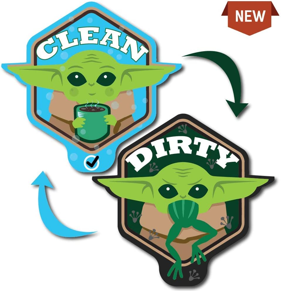 NEW Baby Yoda Dishwasher Magnet Clean Dirty Sign Double Sided Unique Shape with BONUS Adhesive Metal Plate Star Wars Mandalorian Adorable Cute Baby Yoda The Child Kitchen Accessory