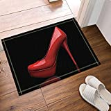Creative Sex Woman Decor Red High Heels in Black Bath Rugs Non-Slip Doormat Floor Entryways Outdoor Indoor Front Door Mat Kids Bath Mat 15.7x23.6in Bathroom Accessories