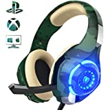 Beexcellent Cuffie Gaming Xbox One PS4, Multi-Platform Bassi Profondi Over Ear Confortevole Cuffia con Microfono Isolamento Rumore di Controllo del Volume LED per PC (green)