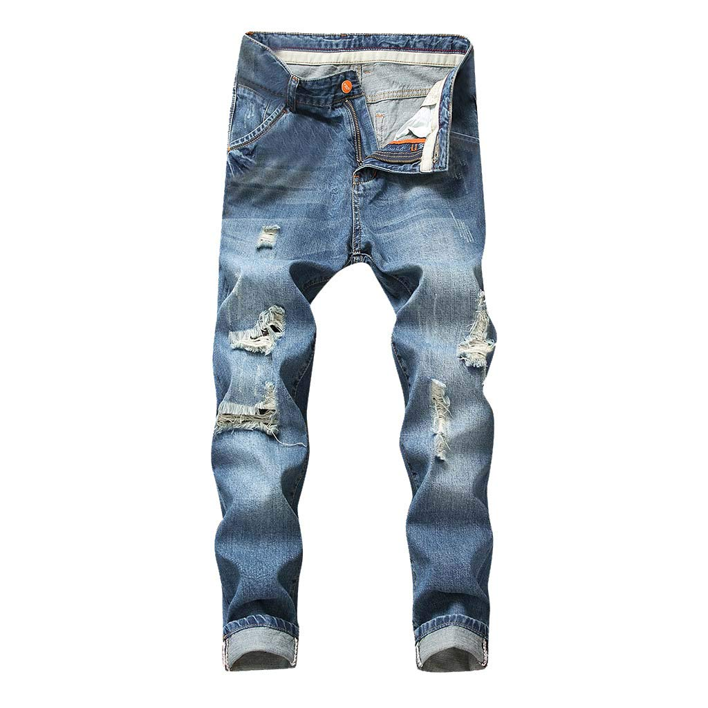ZOMUSAR 2019 ❀ Fashion Mens Casual Stretchy Ripped Jeans Slim Fit Denim Pants