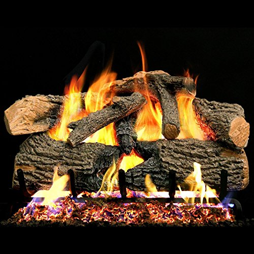 Peterson Real Fyre 18-inch Charred Evergreen Oak With Vented Propane G52 Burner - Electronic On/Off Remote
