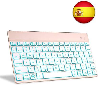 Teclado Bluetooth Tablet, Boriyuan Español 7 Colores Backlist Teclado inalámbrico Ultra Delgado portátil para Sistemas computadora portátil, teléfono ...
