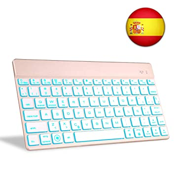 Teclado Bluetooth Tablet, Boriyuan Español 7 Colores Backlist Teclado inalámbrico Ultra Delgado portátil para Sistemas computadora portátil, ...