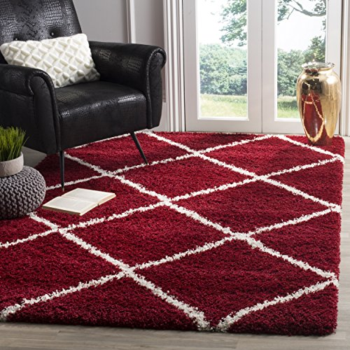 Safavieh Hudson Shag Collection SGH281R Red and Ivory Moroccan Diamond Trellis Square Area Rug (7' Square)