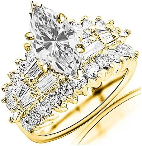 4 Ctw 14K White Gold Exquisite Designer Big Bageutte And Round GIA Certified Marquise Cut Diamond Engagement Ring (2 Ct Center D-E Color VS1-VS2 Clarity)