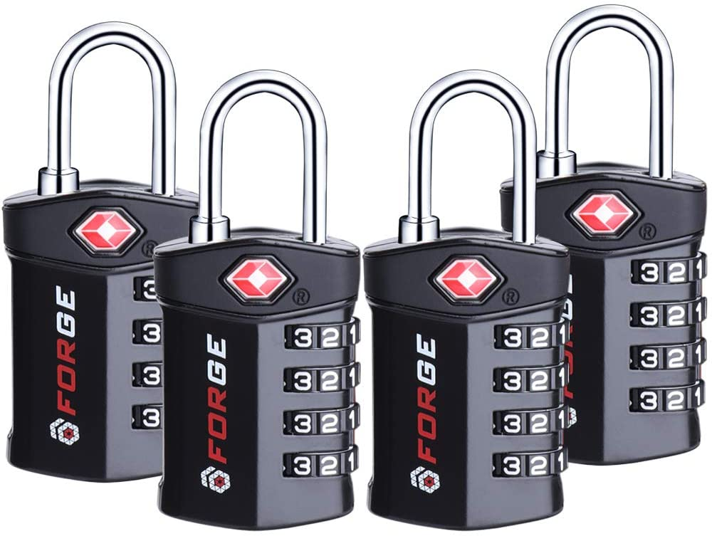 | 4 Digit TSA Approved Luggage Lock, 4 Pack Black, Inspection Indicator, Alloy Body | Luggage Locks
