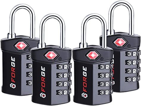 Inspection Indicator 4 Pack Red 4 Digit TSA Approved Luggage Lock Alloy Body