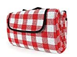 "Camco Classic Red & White Checkered Picnic Blanket with Waterproof Backing - Includes Convenient Carry Strap|Comfortable and Durable Material|Measures 51"" x 59"" - (42803)"