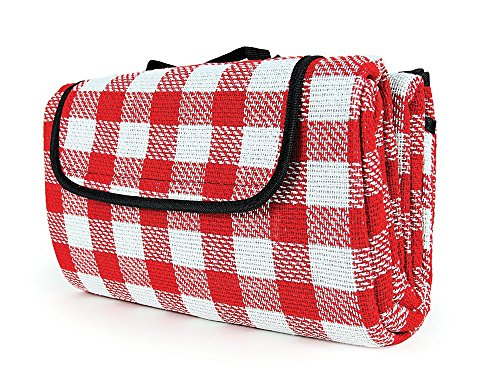 (Camco Classic Red & White Checkered Picnic Blanket with Waterproof Backing - Includes Convenient Carry Strap|Comfortable and Durable Material|Measures 51
