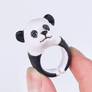 Caimeytie Bijoux Enfant Bague Panda R/églable 3D Animal Personnalis/é Cr/éatif T49-51.5