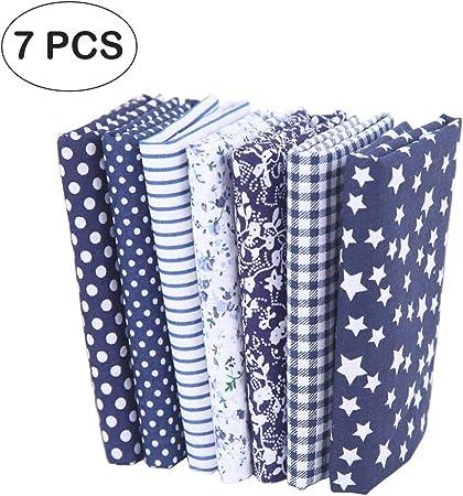 7 piezas de telas de algodón paquete de tela 50x50cm para patchwork costura DIY Sin diseño repetido flores impresas (azul): Amazon.es: Hogar