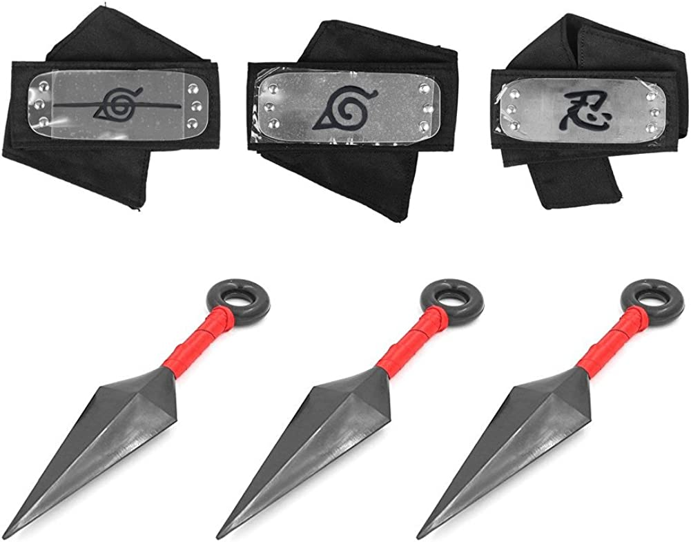 Naruto Headband, Master Online 3 Pcs Naruto Headband and 3 Pcs Big Kunai Plastic Toy with Metal Plated Cosplay Leaf Village Ninja Kakashi