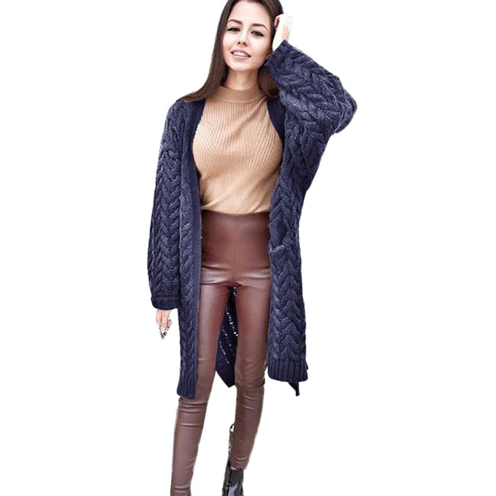 Sunward Women Luxury Loose Fit Long Sleeve Knitted Cardigan Sweaters Outerwear with Pocket (Navy)