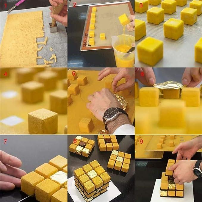 Zclleiyi - Molde 3D para Tartas de Aluminio con Forma de Cubo de ...