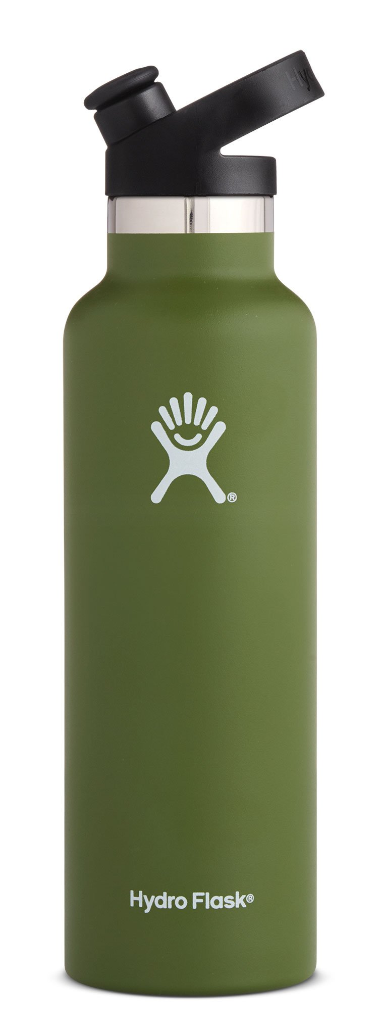 Hydro Flask 21 oz Double Wall Vacuum Insulated Stainless Steel Sports Water Bottle, Standard Mouth with BPA Free Sport Cap, Olive