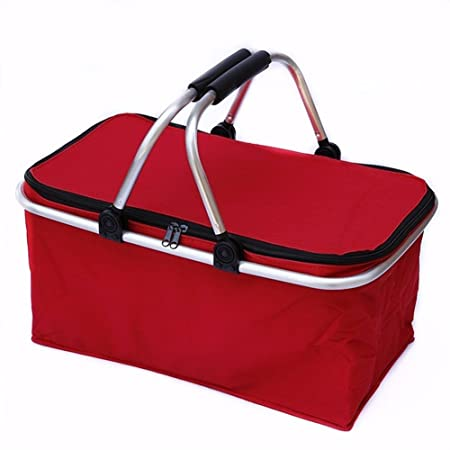 ELEAR/™31 L Foldable Insulated Picnic Basket Bag Cooler bags with Light Weight Aluminium Carry Handle for 4 person