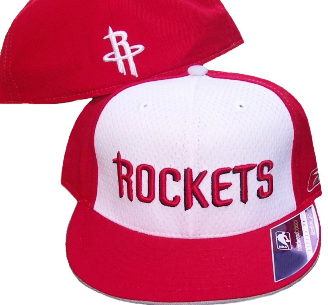 Houston Rockets Basketball Fitted Hat Size 7 1/2 Authentic Hardwood Classics 2 Tone Cap - Red & White   B071YVWX8H