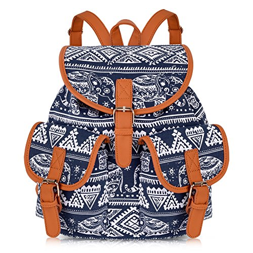 Vbiger Canvas Backpack for Women & Girls Boys Casual Book Bag Sports Daypack (Elephant Blue.)