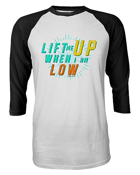 071235480 Lift Me Up Jesus Christ Religious Raglan Quarter Sleeve Men's T-Shirt (Black ,