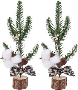 AILANDA 2PCS Artificial Greenery Pine Branches Christmas Picks Natural Dry Cotton White Berries Stems Fake Pine Tree Branches Desktop Decor for DIY Christmas Seasonal Crafts Festival