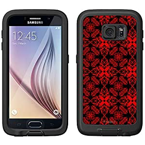Skin Decal for LifeProof FRE Samsung Galaxy S6 Case - Victorian Astonishing Red on Black