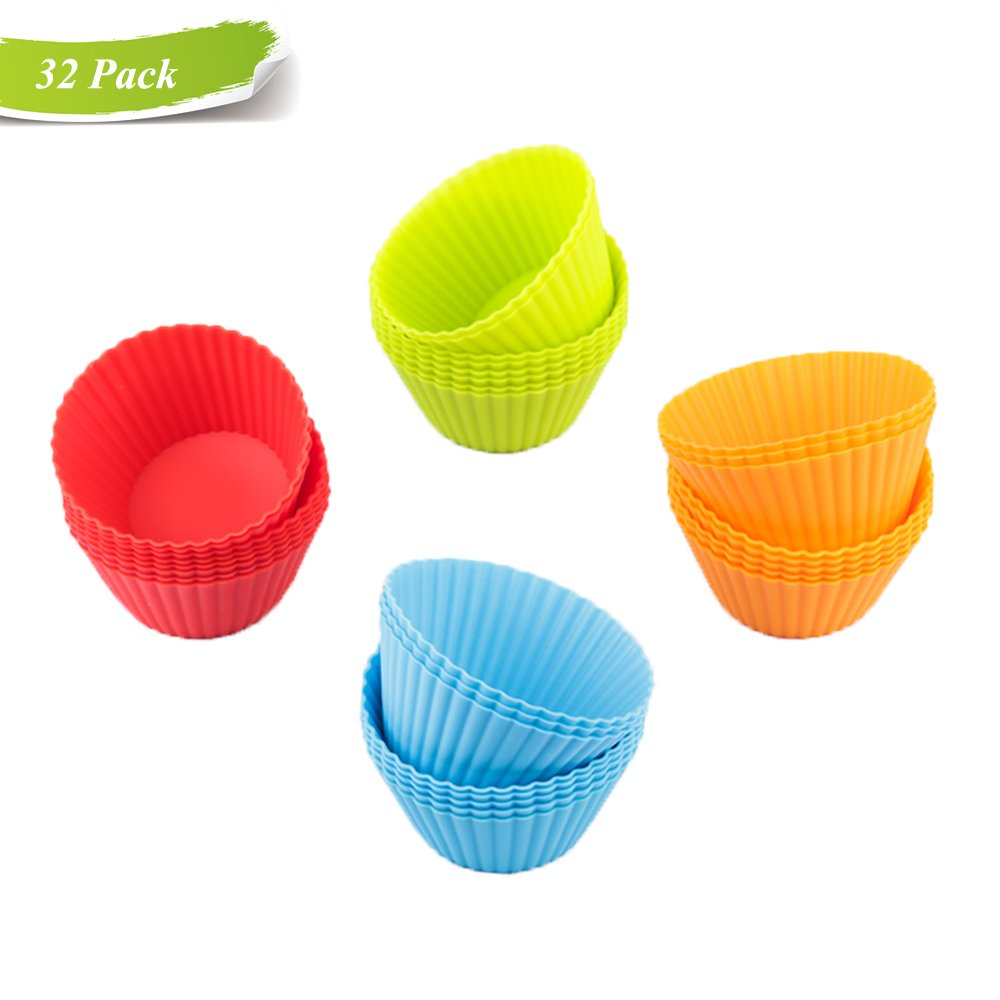 Reusable Silicone Muffin Cups Rainbow Baking Cup Liners 32 Pack, PBA Free and Dishwasher-safe, made from FDA Certified Material