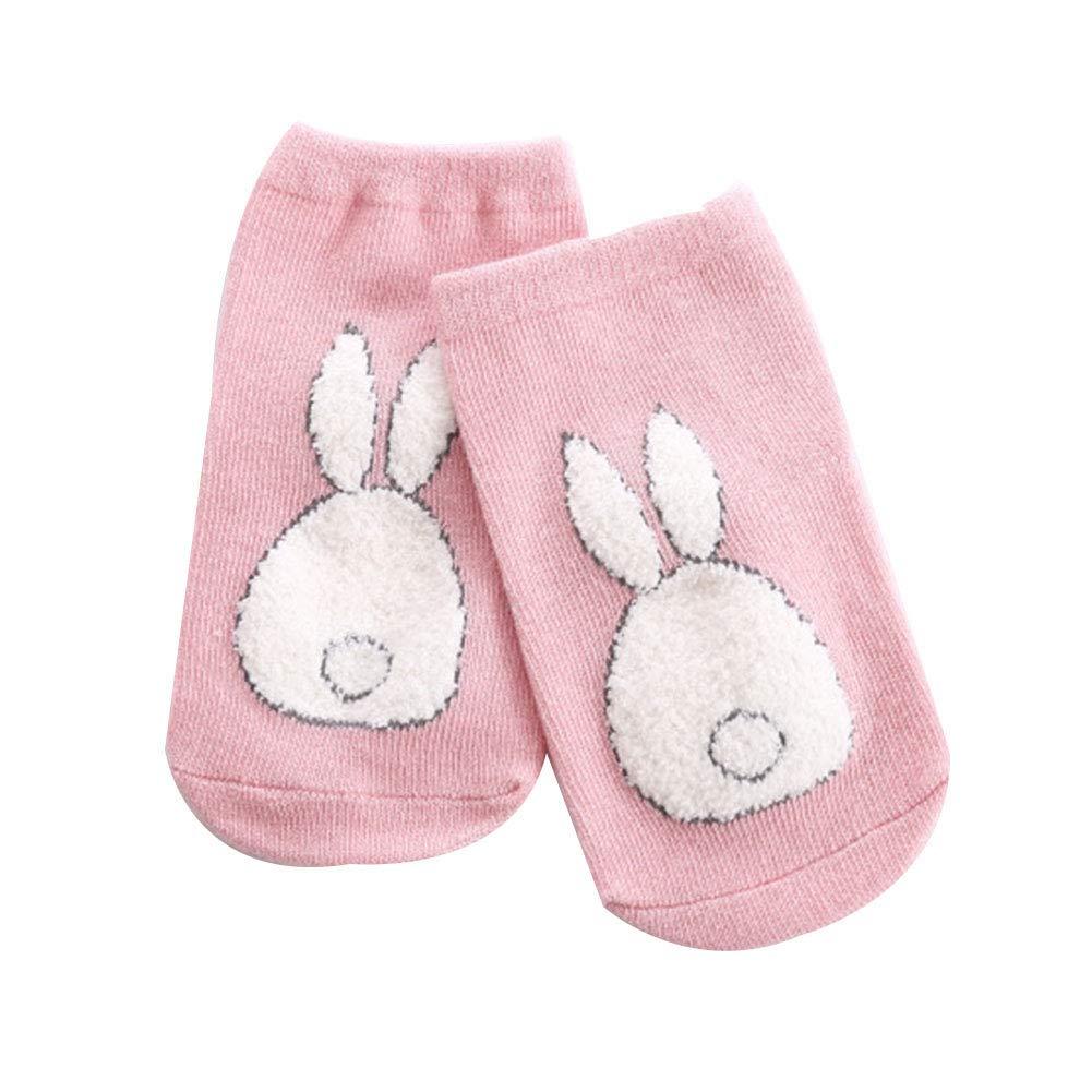 quanjucheer Toddler Baby Kid Winter Cute Rabbit Pattern Anti-Slip Soft Breathable Cotton Floor Socks Blue M