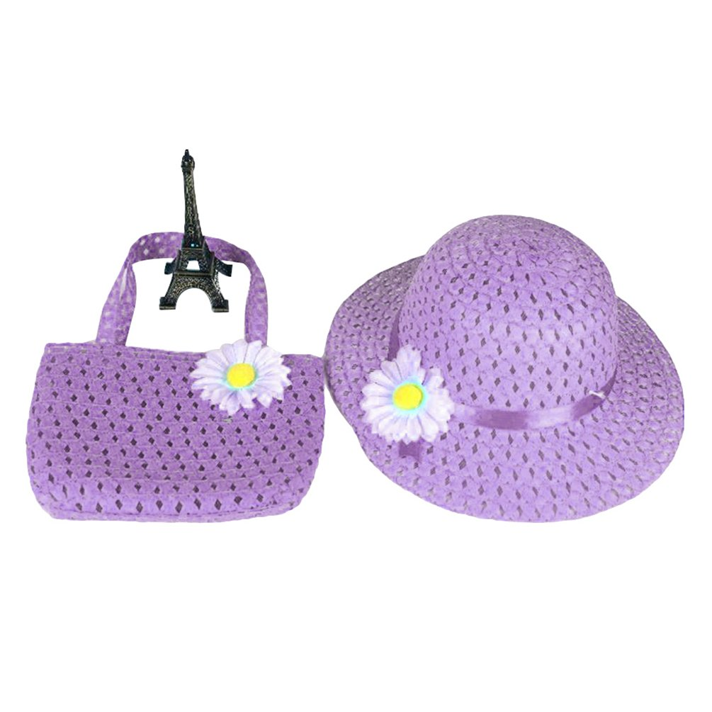 bismarckbeer Kid Girls Straw Sun Hat Summer Beach Flower Princess Hat Bag Gift Set