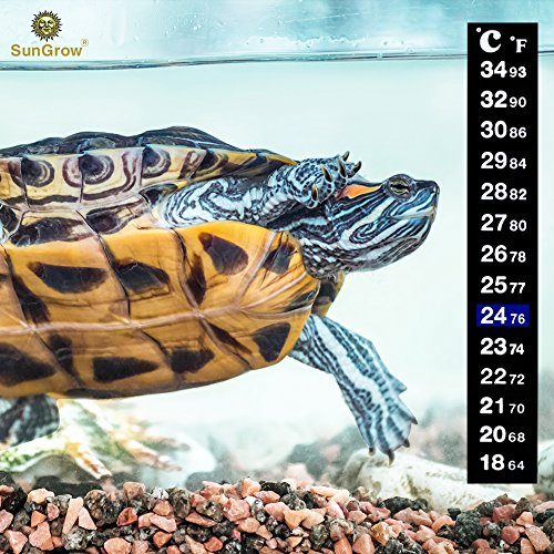 Stick-on Thermometer for Tortoise and Reptiles - Create Ideal Environmental Temperature - Keeps Turtles, Tortoises, and Snakes Healthy and Make Them Live Longer (Turtle Care Aquarium)