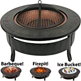 RayGar 3 in 1 Round Fire Pit BBQ Ice Pit Patio Heater Stove Brazier Metal Outdoor Garden Firepit + Protective Cover FP34