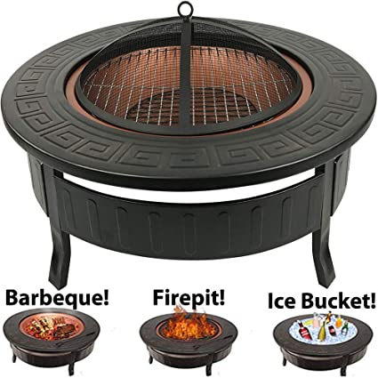 Cocina para patio RayGar 3 en 1 redonda, metálica, para barbacoas, fogatas, hielo en jardines y ambientes exteriores + cubierta protectora FP34 - Nueva: ...