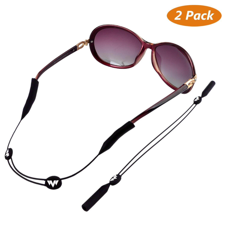 Buluri Sonnenbrillen Haltebänder, Sport Brillenband Elastischer Verstellbarer 2er Pack Schwarz Unisex Anti-Rutsch Brillenkordhalter