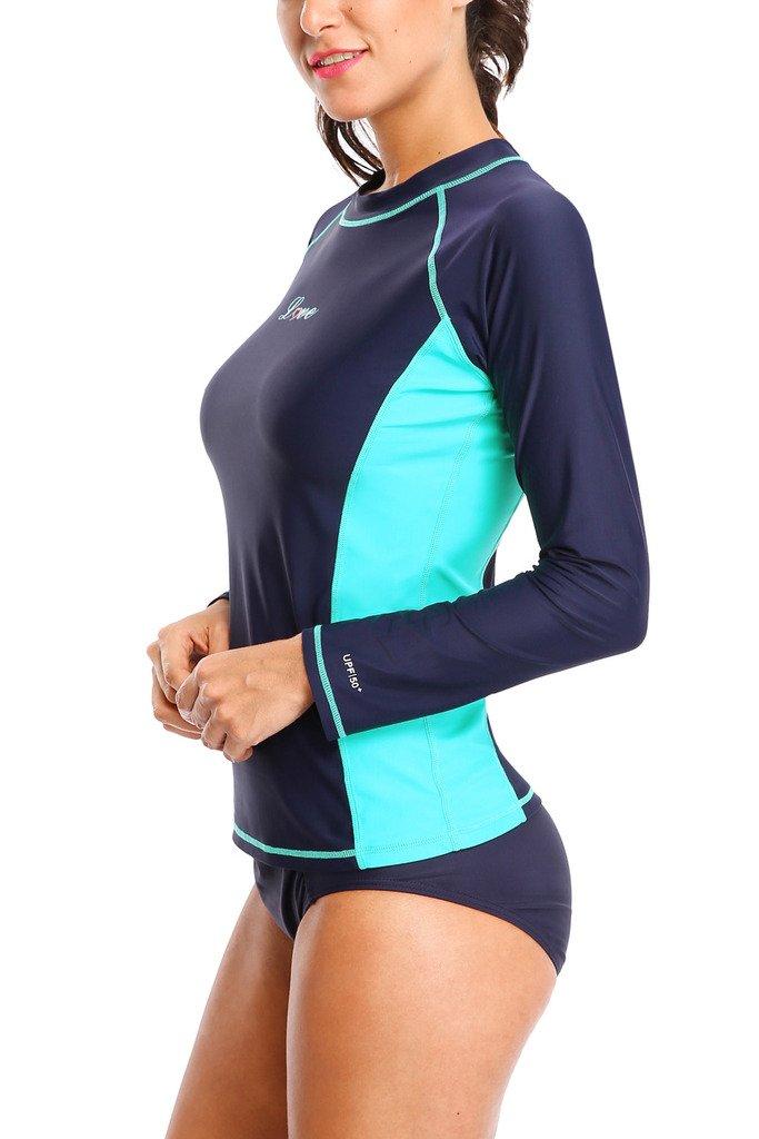 ALove Womens Rash Guard Shirts Long Sleeve UV Swim Shirt Rashguard Top Navy Medium by ALove (Image #2)