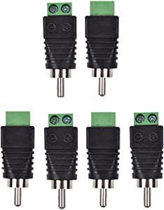 Conwork 6-Pack Phono RCA Male Plug to AV Screw Terminal Audio/Video Connector Adapter