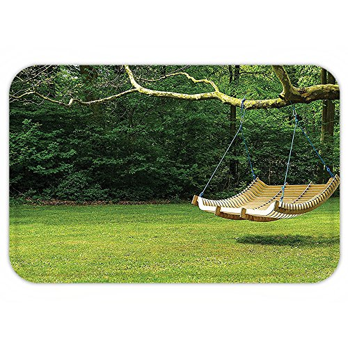 Curved Profile Collection (VROSELV Custom Door MatCountry Home Decor Collection Curved Swing Bench Hanging From The Bough Of Tree In Lush Garden Woodland Backdrop)