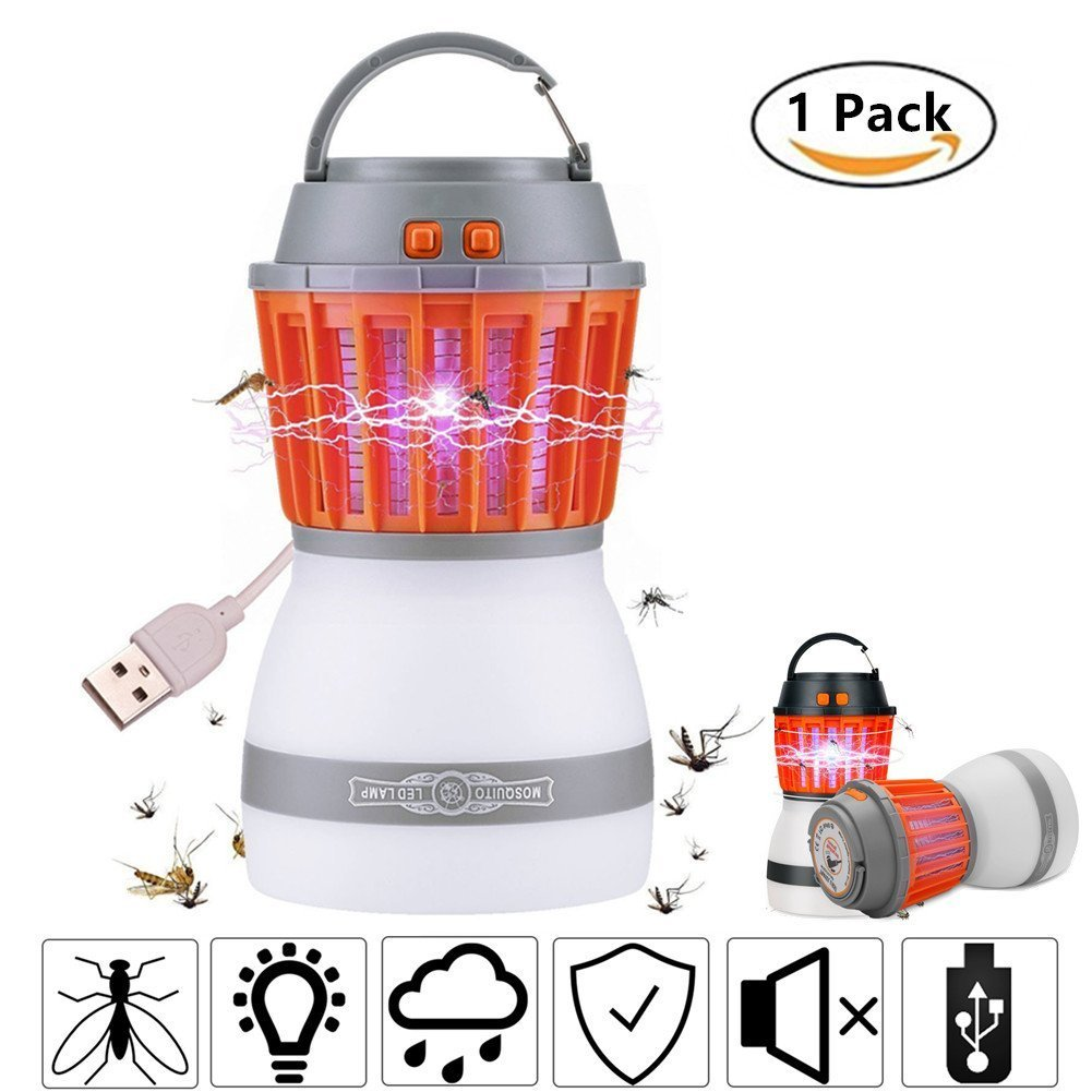 Fellee Bug Zapper, 2-in-1 Mosquito Killer & Camping Lamp Natural Mosquito Killer Lamp Travel Camping Lantern Pest Control USB IP67 Waterproof Insect Repeller for Indoor &Outdoor