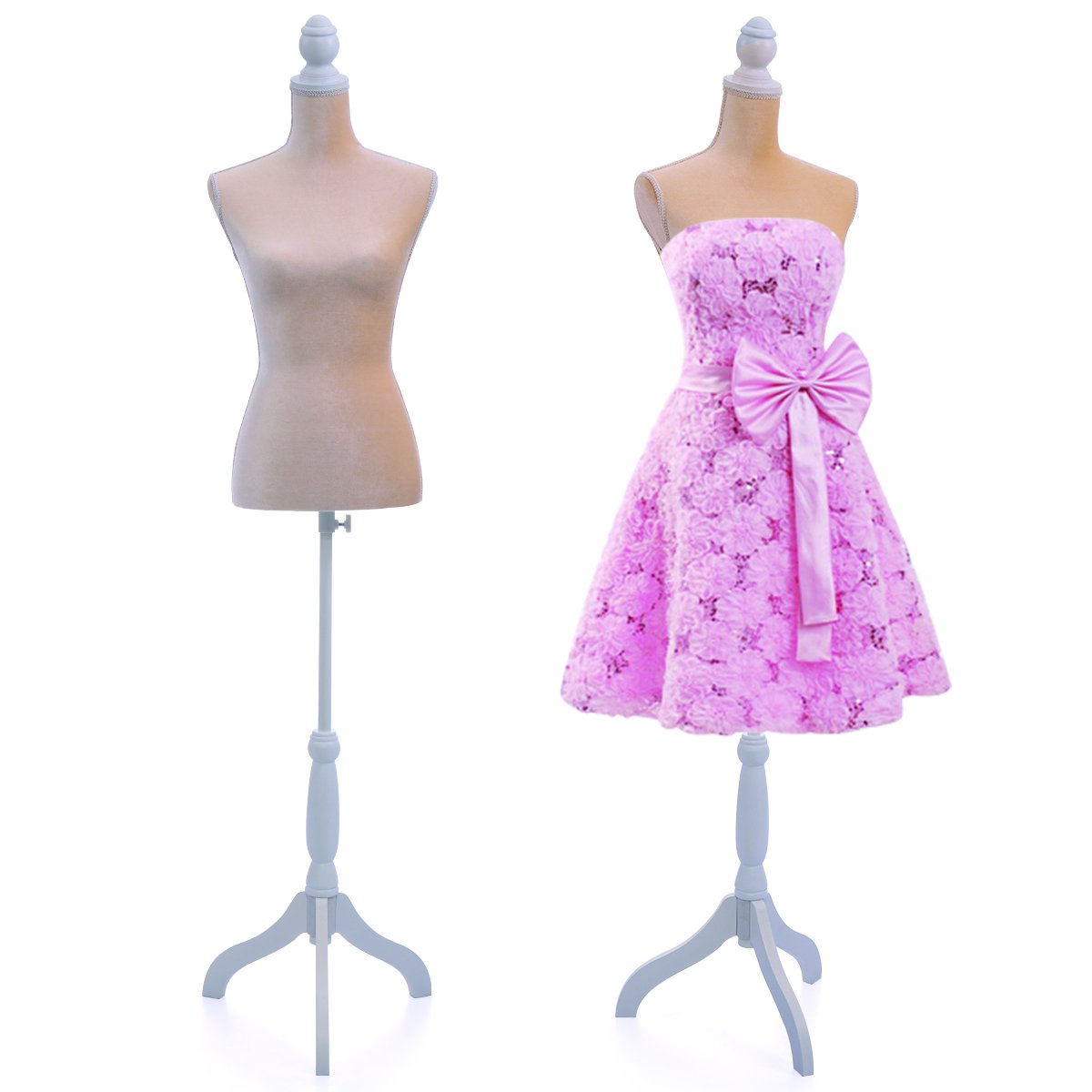 JAXPETY Velvet Female Mannequin Torso Clothing Dress Display W/Tripod Stand