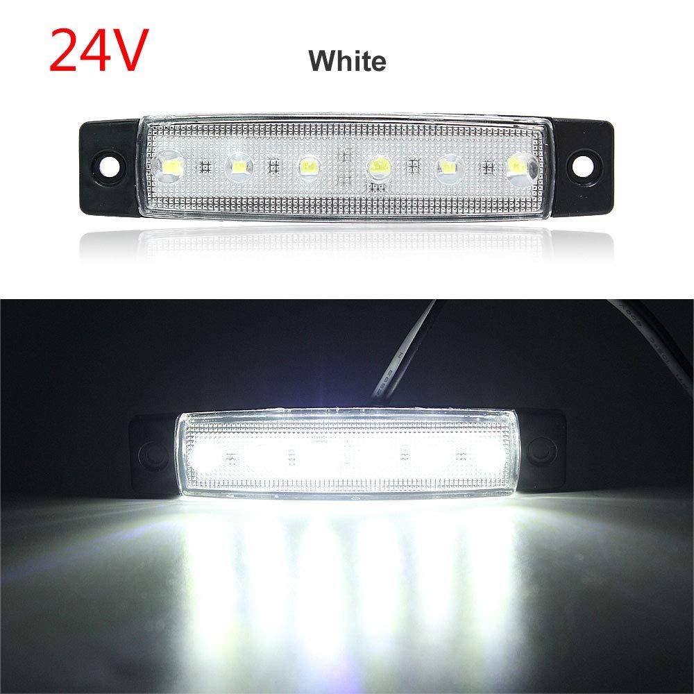 DragonPad 6 LED indicador de Marcador Lateral Luz de se/ñal del cami/ón Se/ñal de Advertencia del Remolque de Cola 12 Verdes