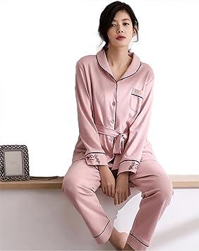 mujer algodón conjunto de pijamas señoras 2 piezas suave casual bordado ropa de dormir, M